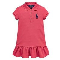 Ralph Lauren Girls Short Sleeve Big Pony Polo Dress, Red, Size 8-10 Years=M, Women
