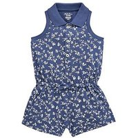 Ralph Lauren Baby Girls Floral Print Playsuit, Navy, Size 12 Months