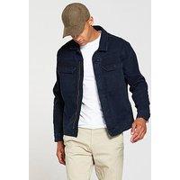 V by Very Denim Jacket Blue/black, Blue/Black, Size L, Men