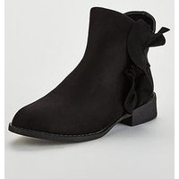 Lost Ink Wide Fit Maddy Frill Flat Ankle Boot - Black, Black, Size 3, Women