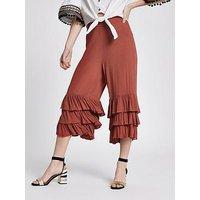 RI Petite River Island Triple Frill Crop Wide Leg Trouser - Red, Red, Size 8, Women