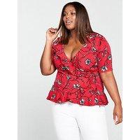 JUNAROSE Miriaz Short Sleeve Frill Wrap Blouse - Lollipop Red, Lollipop, Size 26, Women