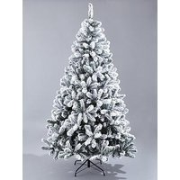 Product photograph showing 8ft Flocked Emperor Christmas Tree With Metal Stand