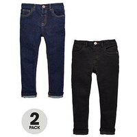Mini V by Very Boys 2 Pack Slim Fit Jean - Rinse Wash and Black, Black/Indigo, Size Age: 9-12 Months