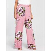 Vila Vila Birdo Floral Printed High Waisted Pant, Bridal Rose, Size 6=Xs, Women