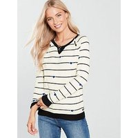 MAISON SCOTCH Maison Scotch Crew Neck Stripe Button Detail Jumper, Combo, Size Xs, Women