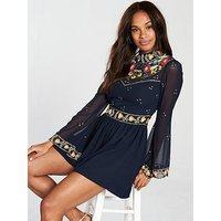 Frock and Frill Long Sleeve Embroidered Playsuit - Navy, Navy, Size 16, Women