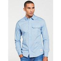 Calvin Klein Jeans CK Jeans Slim Twill Long Sleeve Shirt, Chambray Blue, Size M, Men