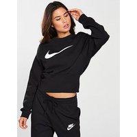 Nike Sporstwear Swoosh Crew Sweat - Black , Black, Size Xxl, Women