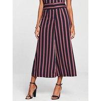 V by Very Wide Leg Trouser - Navy Stripe, Navy Stripe, Size 14, Women