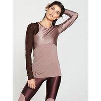 Nike Training Metallic Sheen Long Sleeve Top - Mauve , Mauve, Size Xl, Women