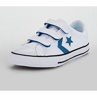 Converse Star Player 3V Childrens Ox, White/Blue, Size 5
