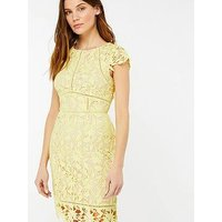 Monsoon Leah Lace Midi Dress - Yellow