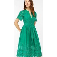 Monsoon Simone Broderie Dress - Green