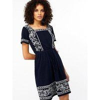 Monsoon Rena Embroidered Short Sleeve Dress - Navy