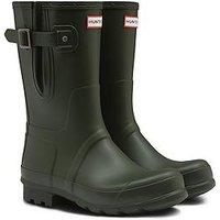 Hunter Mens Short Side Adjustable Boot, Dark Olive, Size 7, Men