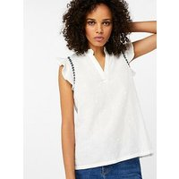 Monsoon Monsoon Rita Linen Embroidered Sleeveless Top, White, Size 12, Women