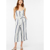Monsoon Lydia Linen Stripe Jumpsuit