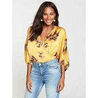 V by Very Floral Print Bodysuit - Yellow, Yellow Floral, Size 14, Women