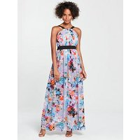 Little Mistress Contrast Waistband Maxi Dress - Printed