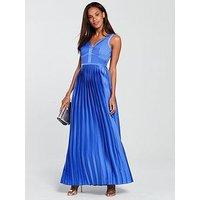Little Mistress Plunge V Neck Satin Maxi Dress - Azure Blue