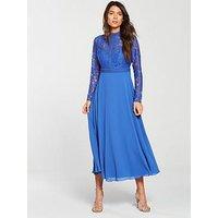 Little Mistress Long Sleeve Lace Top Midi Dress - Azure Blue