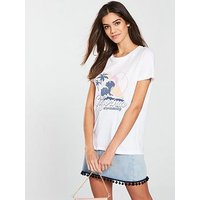 V by Very California Slogan T-shirt - White, White, Size 18, Women