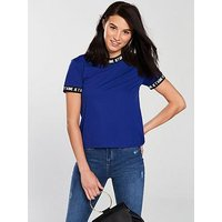 V by Very Je T'aime Printed Rib T-shirt - Electric Blue , Electric Blue, Size 22, Women