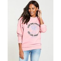 V by Very Los Angeles Rose Sweat Top - Pink, Pink, Size 10, Women