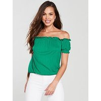 V by Very Shirred Bardot Top - Green, Green, Size 14, Women