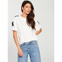 V by Very Tab Sleeve T-shirt - White, White, Size 8, Women