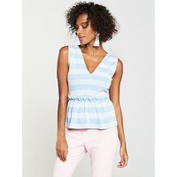 V by Very Stripe Peplum Top - Blue/White, Blues, Size 12, Women