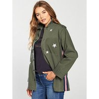 Replay Replay Star Embroidery Tape Detail Shacket, Military, Size S, Women