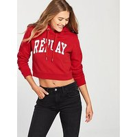 Replay Cropped Sleeve Print Hoodie - Red, Ruby Red, Size M, Women