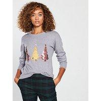 V by Very Sequin Tree Longline Christmas Jumper - Grey Marl, Grey Marl, Size 8, Women