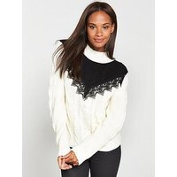 V by Very Contrast Lace Yoke Trim Cable Jumper - Ivory/Black, Ivory/Black, Size 16, Women