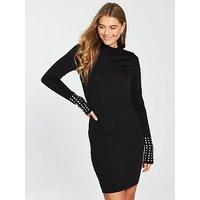 V by Very Jewel Cuff Knitted Bodycon Dress - Black, Black, Size 24, Women