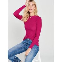 V by Very Skinny Rib Turtleneck Jumper - Pink , Pink, Size 18, Women