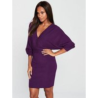 V by Very Deep V Ribbed Cross Over Batwing Knitted Dress - Violet, Violet, Size 20, Women