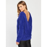 V by Very Fluffy Cross Over Back Batwing Jumper - Blue, Blue, Size 14, Women