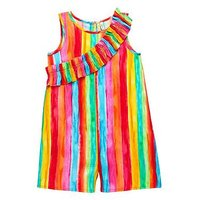 Mini V by Very Girls Rainbow Stripe Playsuit, Multi, Size 3-4 Years, Women