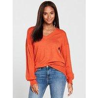 V by Very V-neck Blouson Sleeve Slouch Jumper - Spicy Orange, Spicy Orange, Size 8, Women