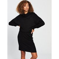 V by Very Ribbed Skirt Slouch Roll Neck Knitted Dress - Black, Black, Size 8, Women