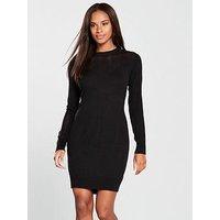 V by Very Mesh Panel Detail Knitted Dress - Black, Black, Size 24, Women