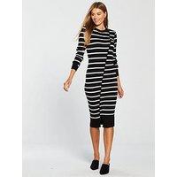 V by Very Skinny Rib Split Hem Knitted Midi Dress - Black/White, Black/White, Size 14, Women