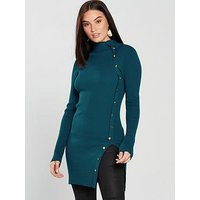 V by Very Button Side Skinny Rib Longline Jumper - Teal, Teal, Size 18, Women