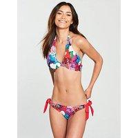 Lost Ink Bright Floral Tie Side Bikini Bottom, Multi, Size L, Women