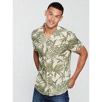 V by Very Short Sleeved Palm Print Shirt, Khaki/Stone, Size M, Men