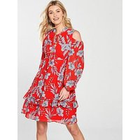 V by Very Cold Shoulder Tie Neck Dress - Red , Red Print, Size 8, Women