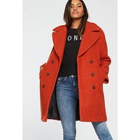 V by Very Oversized Double Breasted Boucle Coat - Rust, Rust, Size 8, Women